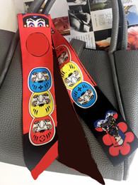 2018 Japan Face Red Print Bandeaus Scarf 117x5cm 100% Silk Ribbon Ribbons Neckerchief Long Neckscarf Hair Riband Handlegs desde fabricantes