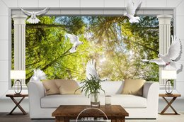 Wholesale Forest Wallpaper For Home - wall papers home decor living room Roman column forest Pigeon 3D TV backdrop customized wallpaper for walls