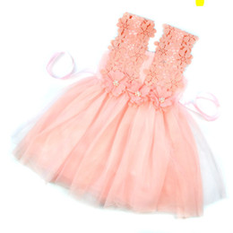 Wholesale White Princess Tutu Dress - New Baby Girls Party Lace Tulle Flower Gown Fancy Bridesmaid Dress Sundress Girls Dresses Little Girl Princess Tutu Gown Hollow Lace Skirt