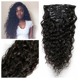 Wholesale 26 remy human hair clip - Slove Water Wave 8Pcs Full Head Clip In Human Hair Extensions Brazilian Machine Made Remy Hair 100% Human Hair Natural Black Color