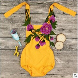 Wholesale Green Baby Girl Rompers - INS Infants rompers Baby girls peony flower green leaves Embroideried jumpsuit 2018 new Summer Toddler kids suspender backless rompers C2716