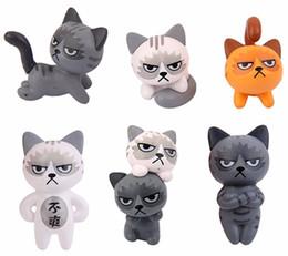 banche di monete del cane di plastica Sconti 6pcs Fairy Garden Ornaments Resina in miniatura scontroso gatto Bonsai Decorazione casa delle bambole