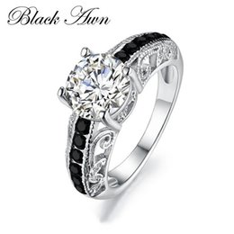 Wholesale Rings Fine Jewelry - [BLACK AWN] High Quality 925 Sterling Silver Fine Jewelry Trendy Wedding Rings for Women Engagement Bague Size 6 7 8 C092