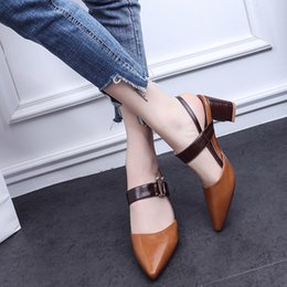 Wholesale Pointy Wedges - The new 2018.European stiletto heels, summer new pointy shoes, handsome leather straps and high-heeled sandals.T357
