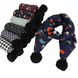 Wholesale Hanging Girls Neck - Autumn and Winter Children 's Scarves New Fashion Flowers Cotton Hanging Ball Baby long Scarf Boy Girl Neck Warm Bufandas