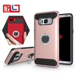 Wholesale Galaxy Ring Cases - Shockproof Hybrid Rubber Ring Kickstand Slim PC + TPU Armor Case Cover For Samsung Galaxy S8 S8 Plus With the Opp Package