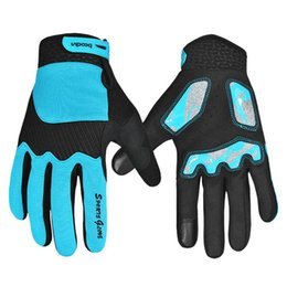 Wholesale Road Bicycle Winter Gloves - HOWO Winter Full Finger Cycling Bicycle Bike Gloves Sports Accessory road Mountain Bike Silicone Running Gloves sky blue