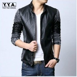 Wholesale korean men fur coat - Top Korean Fashion New Mens Slim Fit Cool Stand Collar PU Leather Denim Fashion Jacket Coat Outwear Size L-6XL Free Shipping