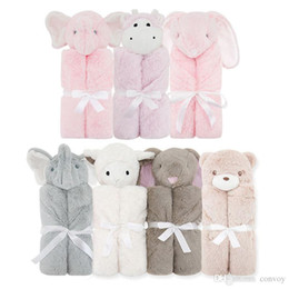 Wholesale baby fleece sleeping bags - Newborn Baby Swaddling Sleeping Bag Blankets Berber Fleece cute animal Swaddle Wrap Infant Photography Props AccessoriesBHB47