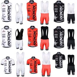 Wholesale Cycling Vest Men - 2018 Rock Racing Cycling Vest Set Short Sleeves Summer Style Cycling Jerseys With 3D Gel Padded bib Shorts sets C0808