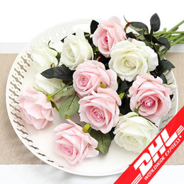 Wholesale Real Wedding Flowers - Fresh Rose Real Touch Artificial Flowers Rose Flowers Home decorations For Wedding Party Birthday Fake Cloth Flower
