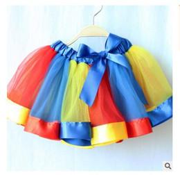 Wholesale Kids Rainbow Gown - Girls Dresses Tutu Skirts Kids Clothing Baby Rainbow Satin Trimed Gauze Ballet Dance Top Quality Kids Ribbon Birthday Party Costume Skirts