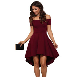 Wholesale Sleeveless Skater Dress - Loveying Elegant Women Sexy Cocktail Party Skater Dress Off Shoulder with Sleeves Stretchy Burgundy High Low Dresses 2018 Plus S-3XL