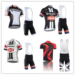 Wholesale Giant Cycling Jersey White - 6 Different Models High Quality Team GIANT Tour de France Cycling Clothing Short Sleeve Cycling Jersey +Cycling Bib Short Sets Ropa Ciclismo