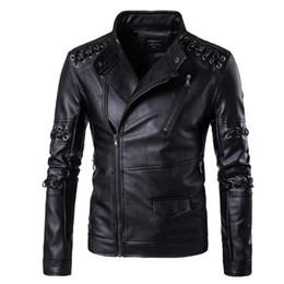 Chaquetas diagonales con cremallera online-Disfraces de rock personalizado tejer cremallera diagonal de cuero de los hombres de la chaqueta de gran tamaño de la chaqueta de cuero de la motocicleta de la juventud del club nocturno