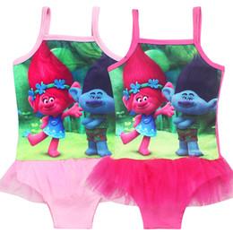 Wholesale tutu swimsuits - Magic Elf Swimwears Trolls Girls Movie Print One-Piece Tutu Style Pink Summer Swimsuits Children's Beachwear Kids Clothes Baby Swimsuit