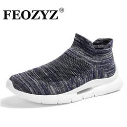 mediados de corte zapatos para correr Rebajas FEOZYZ New Mid-Cut Running Shoes Mujeres Hombre Flywire Tech Unisex Sneakers Comformtable Calcetines deportivos transpirables Calcetines