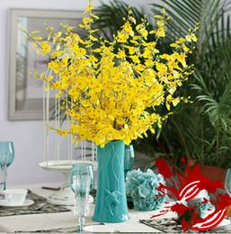 Argentina 5 flores amarillas de la orquídea del baile de la bifurcación solo flor decorativa de la orquídea de seda de seda Nuevo producto cheap yellow silk orchids Suministro