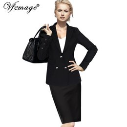 Wholesale Womens Winter Outfits - Vfemage Womens Autumn Winter Lapel Pocket Button Up Long Sleeve Work Office Business Casual Outwears Outfit Jackets Blazer 10029