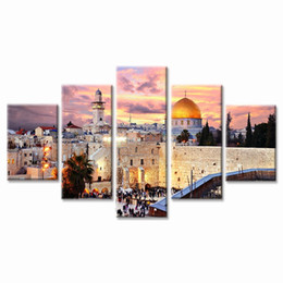 Lienzo islámico arte de la pared online-5 paneles de arte abstracto de la pared pintura estirada y lista para colgar enmarcada Mezquita de arte moderno musulmán islámico moderno Impresión en lienzo