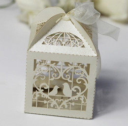 Wholesale Love Birds Laser Cut - 100PCS Laser Cut Love Hearts Bird Style Candy Gift Boxes With Ribbon Wedding Birthday Baby Shower Party Favor Box