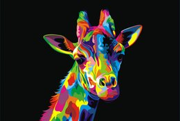 Wholesale Poster Art Deco - Modern Colorful giraffe Animal Oil painting Home Deco High Quality Giclee Print on Canvas art poster painting decor for Living Room Bedroom