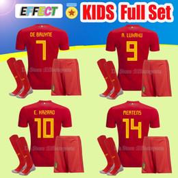 Wholesale green football socks - 2018 World Cup Belgium Kids Kits Soccer Jersey Full Sets LUKAKU FELLAINI E.HAZARD KOMPANY DE BRUYNE Boys Child Youth football shirt Socks