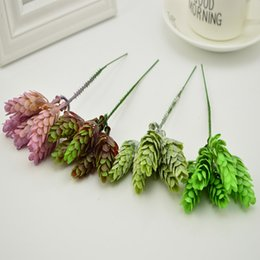 Wholesale Table Flower Vases - 5pcs silk plastic Green Plant Pineapple Grass vases for Home table wedding Decora diy gift box Artificial Flower bouquet