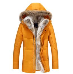 Wholesale Jacket Rabbit Fur Hoods - Winter Jackets Mens Fur Hood Coat Thick Warm Putwear Overcoat Snow Clothes Real Raccoon Fur Collar Rabbit Linner S-5XL New