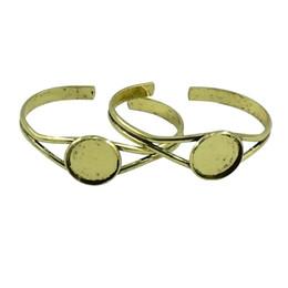 Paramètres de blocs en Ligne-Phenovo 2pcs 20mm Bracelet Paramètres Manchette Bracelet Cabochon Blanc Lunette Plateau Bronze DIY Bracelet Bracelet Bijoux Accessoires