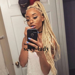613 hair color braid Promo Codes - 180density full Box Braids Wig brazilian #613 blonde lace front wig natural Hair Heat Resistant Braids Synthetic hair wigs for black women