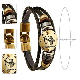 Wholesale vintage horoscope - Hot 12 Zodiac Sings Infinity Rope Bracelets For Women Jewelry Leather Bracelets Men Casual Personality Alloy Vintage Punk Charms Bracelet