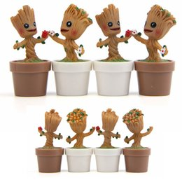 Wholesale wood carved - 4 Designs Tree Man Anime Figure Carved Wood Sprites Action Figures Collectible Toys PVC Guardians Galaxyest Gift for Children AAA338