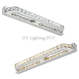 Wholesale Vanity Wall Mirror Lights - 110v 220V 240v L40cm 56cm 68cm 87cm 100cm Modern LED Crystal bathroom mirror light warm white pure white crystal led vanity toilet lighting