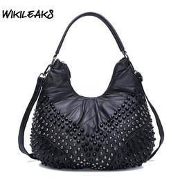 ba1e9fc9e1f7d 2019 großer hobo WIKILEAKS Frauen Echtes Leder Handtaschen Schaffell Hobos  Große Kapazität Umhängetaschen stud Diamanten Vintage