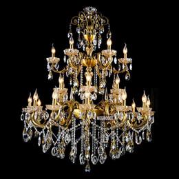 Deutschland Große Kristallleuchter Leuchte 3 Ebenen 24 Arme Antik Messing Restaurant Luxuriöse Kristall Glanz Lampe cheap large brass light Versorgung