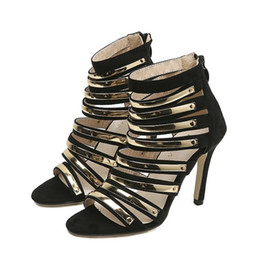 d20372f55d54e Sexy Black Metal Gold Strappy Pumps Party Prom Shoes Synthetic Suede 2018  Summer Size 35 To 40