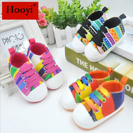 Wholesale Children Lace Socks - Colorful Stripe Baby Boy Shoes Non-Slip Prewalker Fashion Newborn First Walker Children Sneakers Girls Canvas GYM Shoe Plimsolls Infant Sock