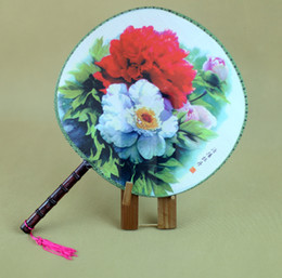 Wholesale Peony Crafts - Peony Flower Handle Round Fan Traditional Craft Chinese Silk Dancing Fans Personalized Ladies Hand Fans Wedding Favors