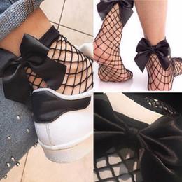 Wholesale Mesh Netting Ribbon - 2017 New Glitter Ribbon Bow Knot Low Cut Ankle Socks Women Girl Fashion Mesh Shimmer Fishnet Net Socks Chaussettes Femme Black