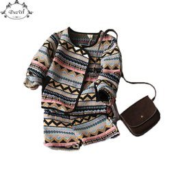 Wholesale Vintage Western Clothing - Spring Children Clothing Set Vintage Girls Top Short Pant 2pcs Outfit Western Girls Long Sleeve Kids Girls Clothes Fashion