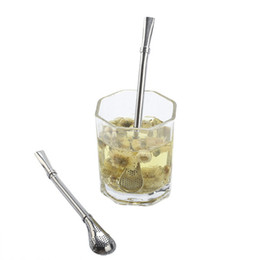Wholesale Tea Shaker - Spoons Stainless Steel Drinking Straws 2 in 1 Tea Strainer Cocktail Shaker Coffee Filtered Spoons Bar Party Supply Eco-Friendly