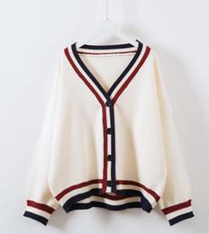 Strickjacken online-Koreanische Frauen Streifen V Kragen Strickjacke stricken lose Mantel Jacke 2 Farbe