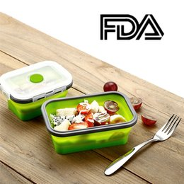 Wholesale collapsible storage containers - 4 PCs set Silicone Collapsible Bowl Folding Lunchbox Picnic Boxes Storage Food Container Multi Color FDA NNA147