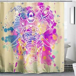 Pannelli doccia online-Impermeabile poliestere elefante vasca da bagno tenda della doccia pannello sheer ganci set casa bagno doccia copertura del bagno tessili per la casa forniture