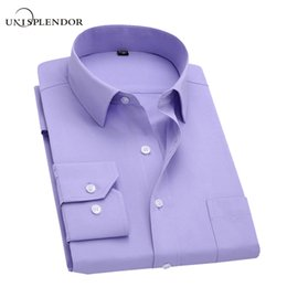 Wholesale Wholesale Designer Clothes Brands - Long Sleeve Slim Men Dress Shirt 2017 Brand New Fashion Designer High Quality Solid Male Clothing Fit Business Shirts 4XL YN045