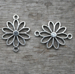 Wholesale filigree pendants - 25pcs--Flower charms, Antique Tibetan silver Filigree Flowers Charm Pendant connector 25x19mm