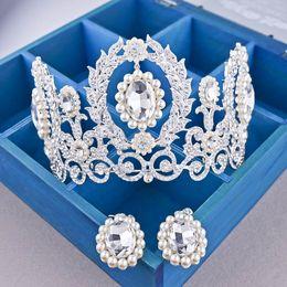 Wholesale Queen Hearts Tiara - New Bride Crown Queen luxury Water drill European Princess large Crown Wedding Headdress Wholesale