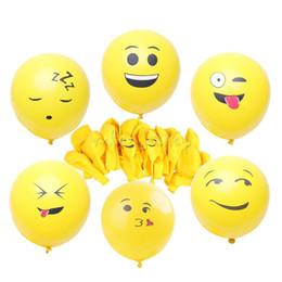 2019 documenti di supporto natale 20pcs Emoji palloncini Espressione faccia sorridente giallo palloncini in lattice Festa nuziale Ballon Cartone animato palle gonfiabili 1 pacco
