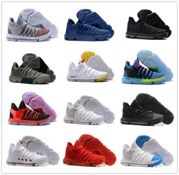 Wholesale Kd Sneakers - 2018 Correct Version KD 10 EP Basketball Shoes for Top quality Kevin Durant X kds 10s Rainbow Wolf Grey KD10 FMVP Sports Sneakers USA 7-12